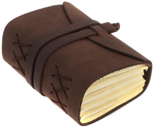 INDIARY Luxusnotizbuch Tagebuch aus echtem Leder und handgeschöpftem Papier Wild-A6 - Braun