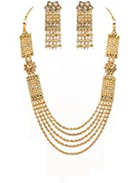 OMIAX Traditional Indian Golden Look Bentex Jewellery Five Layer Necklace Set For Women With Earrings Set