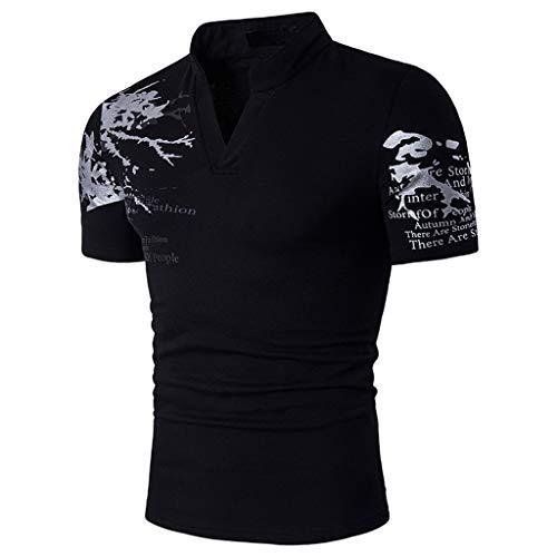 Xmiral Tops T-Shirts Herren Poloshirt Mit V-Ausschnitt Kurzarm Casual Oberteile Frühling Sommer Bodybuilding Muskel Bluse(L,Schwarz) -