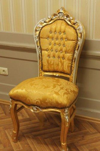 LouisXV Barock Esszimmer Blatt gold Blatt gold braun Brokatstoff antik Stil Massivholz. Replizierte...
