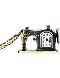 Starmood Retro - Reloj de Bolsillo con Cadena de Collar, diseño de máquina de Coser