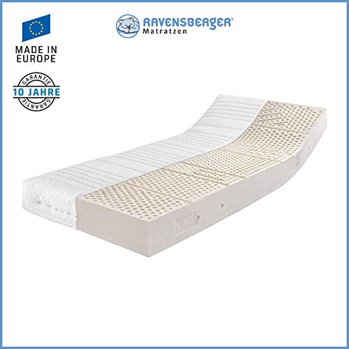 Ravensberger Matratzen® Latex Oeko TEX 100 LATEXCO | 7-Zonen Komfort- Matratze aus Latex H3 RG 65 (80-120 kg) | Made IN Europe - 10 Jahre Garantie | Bezug MEDICORE silverline® 90 x 200 cm