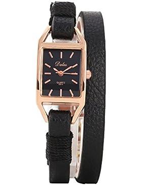 XLORDX Classic Damen Armbanduhr Quarz Elegant Modisch Doppel Wrap Schwarz Leder Rosegold