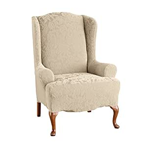 Sure Fit Stretch Jacquard Damask - Wing Chair Slipcover - Oyster (SF39613) by Surefit
