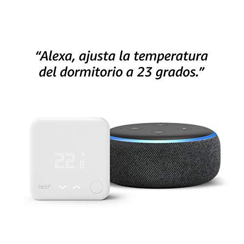 Echo Dot (3.ª generación) -  Altavoz inteligente con Alexa,  tela de color antracita + Termostato Inteligente Kit de Inicio V3
