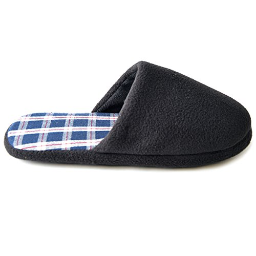 Komfort Loungewear (Slumberz - Herren Pantoffeln aus Fleece - innen kariert - Schwarz - 44/46)
