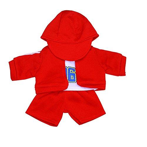 4PCS Hut + T-Shirt + Mantel + Hosen Anzug @ Für 18 Zoll American Doll sunnymi Babypuppen Zubehör Cool (Ohne Puppen) (37X26X32CM, Rot)