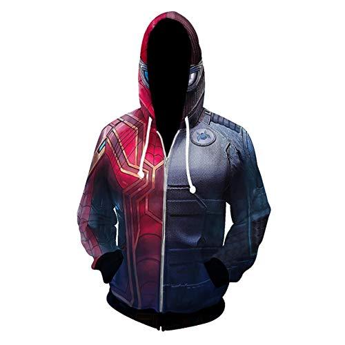 Hoodie Spiderman Kostüm - K-Flame 3D-Druck Kapuzenpulli Unisex Cosplay Kostüm Mantel Jacke Spider-Man Multi Versionen Long Sleeve Hoodies,Steel,5XL