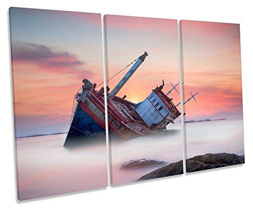 Canvas Geeks Leinwandbild, Motiv: Strandboot, Sonnenuntergang, 3 Stück, 150cm Wide x 100cm high