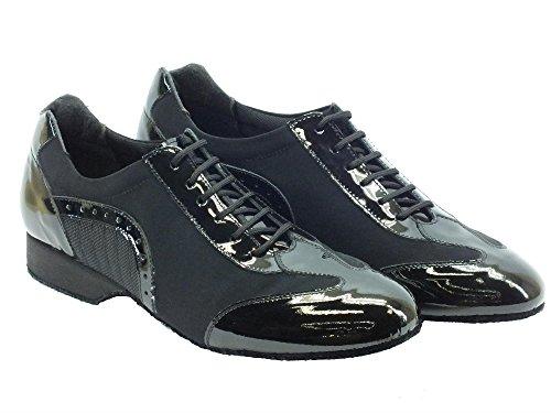 Vitiello Dance Shoes  Ballo Articolo F Lycra Nero Vernice Nero, Herren Tanzschuhe Schwarz