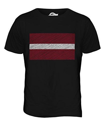 CandyMix Lettland Kritzelte Flagge Herren T Shirt Schwarz