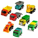 8 Pieces Construction Vehicles semi Metal Pull Back and Go Trucks