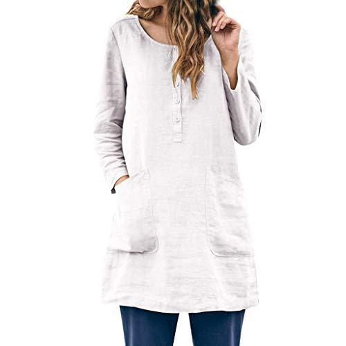 Ombre Gestreiften Hemd (OIKAY Neue Frauen-Baumwollleinen Lange Bluse lose beiläufige Weinlese Hemd Frauen beiläufige lose Leinenpatchwork-Taschen-Knopf tägliche Feste Bluse übersteigt Hemden)