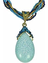 777bf4a6fe60 Collare con Colgante medallone Joya Barata Moda Etnico Mujer Azul Torsades  Moldeado Olivia
