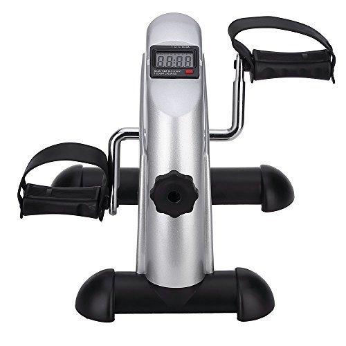 Mbuynow Mini Bike Heimtrainer, Arm- und Beintrainer Pedal Exerciser Bewegungstrainer für Arme & Beine Minifahrrad mit LCD-Monitor Einstellbarer Widerstand (Silber)