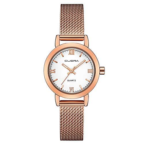 Lazzgirl Luxus Mode Damenuhr Edelstahl Analog Quarz Armbanduhr Armband(F,One Size)