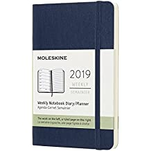 Moleskine Planner Diary 2019 12M Weekly Notebook Pocket Sapphire Blue Soft Cover