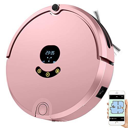 Aspiradora robótica, robot de limpieza automática con control de aplicaciones, autocarga, extremadamente silencioso, plan de limpieza de soporte, diseñado para pisos duros y alfombras finas,Pink