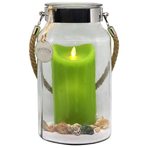 Dekovita Geschenkidee 30cm Dekoglas LED-Echtwachs Kerze grün m. bewegter Flamme u. Deko-Sand Ostern Muttertag Geburtstag (Groß Outdoor-kerze-laterne)