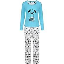 Para mujer diseño de estampado animal manga larga Mujer Pijama Set 100% algodón ...