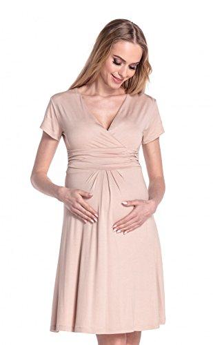 Happy Mama Donna Abito elasticizzato prémaman vestito di maglina svasato 108p Beige