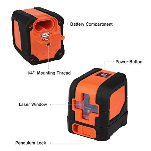 Suaoki   Mini Nivel Láser de Cruz  Nivelador Láser de líneas cruzadas Autonivelante (Alta nivelación precisión ±0.3mm/m  baterías incluídas)