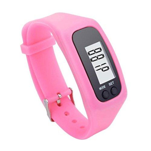 Uhr Damen Uhren DAY.LIN Digital LCD Schrittzähler Run Schritt Walking Distance Kalorienzähler Uhr Armband (Rosa) (Rosa Fabelhafte Hut)