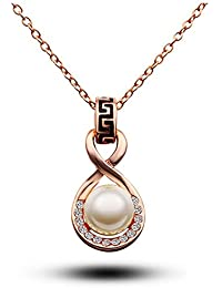 Silver Shoppee Marigold 21K Rose Gold Plated Cubic Zirconia And Pearl Studded Alloy Pendant For Girls And Women