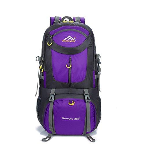 DATONGPF Outdoor-Klettern Rucksack/ 60L Wasserdicht Nylon Wandern Reiten Rucksack Freizeit Breathable Sport Reisen Rucksack Unisex Schultasche,Purple -