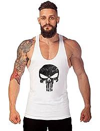 Robo Tank Top Hombre Sin Manga Calavera Slim Fit Cómodo Fitness Top Camisetas de Tirante Gimnasio