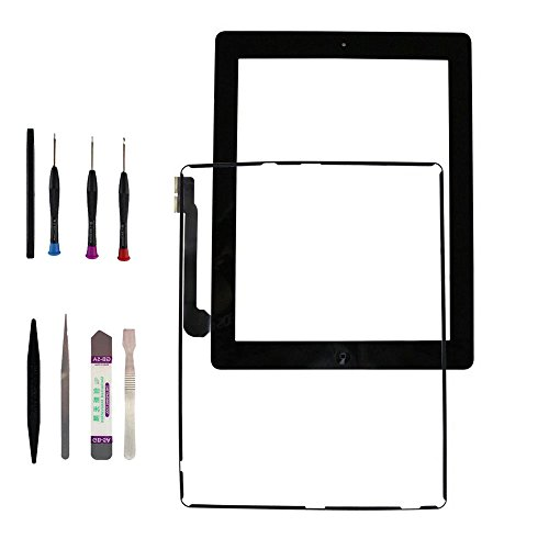 iPad 3Touch Screen Ersatz-Digitizer-Touch Screen Glas-Objektiv Digitizer + Rahmen Ersatz für iPad 3Schwarz, 24,6cm Touch Bildschirm Digitizer Reparatur Teil für iPad 3Tools Life-Time-Warranty