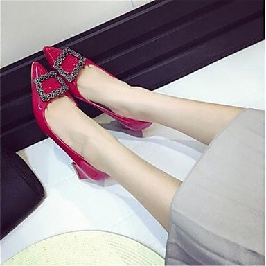 pwne Donna stivali inverno Mary Jane PU Casual Chunky Heel rosso US8.5 / EU39 / UK6.5 / CN40 US7.5 / EU38 / UK5.5 / CN38