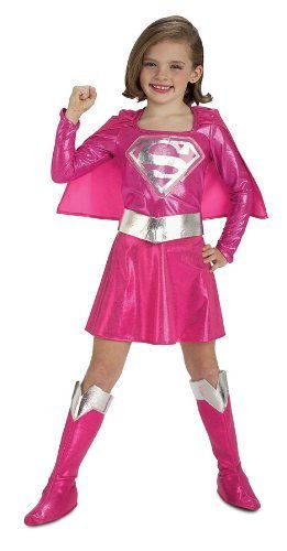 Mädchen Supergirl Kostüm (Supergirl Kostüm rosa)
