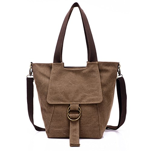 FZHLY La Spalla Portatile Nuova Arte Retrò Canvas Croce Mestolo Bag,Beige Brown