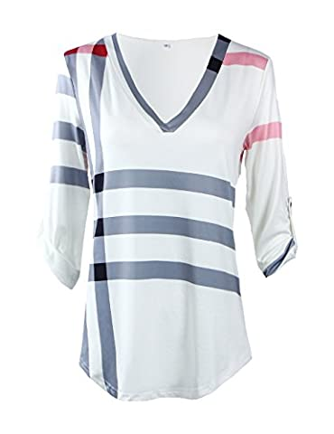 Shinekoo® Femmes col V 3/4 Manche Plaid Longue Top Chemisier en Vrac Shirt