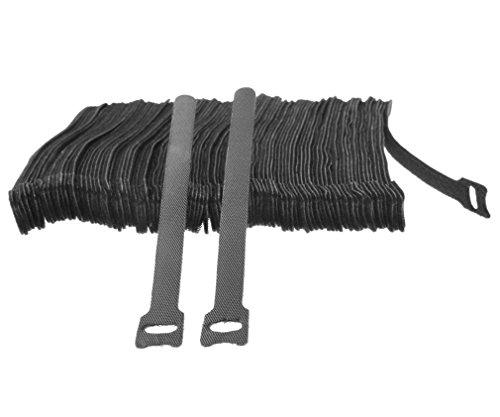 100 x Black Adjustable Strap Reusable Ties Tidy Wrap Hook & Loop by Micro Trader