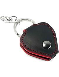 Tuff-Luv Personalisierte Plektrum Gitarre echtes Ledertasche & Schlüsselanhänger - Schwarz mit roter Ordnung