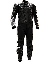 schul® Lederkombi Motorradbekleidung Biker Anzug Zweiteiler Motorradkombi Schwarz, Size: 48