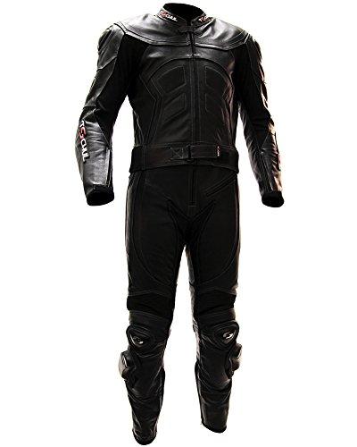 #schul® Lederkombi Motorradbekleidung Biker Anzug Zweiteiler Motorradkombi Schwarz, Size: 52#
