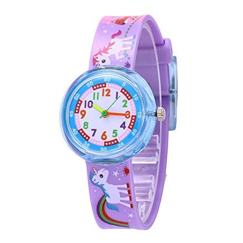 Relojes Niños Preciosos Arcoiris Unicornio Animal Números Arábigos Cuarzo Relojes Chico Chica Silicona Colorido Púrpura