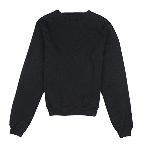 Coversolate Las mujeres del invierno del otoño Volver Cruz hueco suéter flojo de la blusa superior (S)
