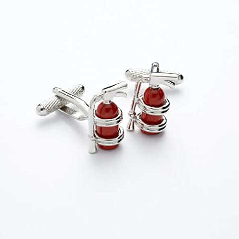 Novelty Fire Extinguisher Cufflinks In Polished Stainless Steel & Red Enamel By Onyx Art - A Must For All Fire Fighting Lovers (CK188)