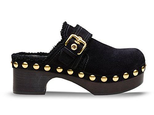Sabots Car Shoe pour femme en cuir de mouton noir - Code modèle: KDZ31L JFT F0002 Noir