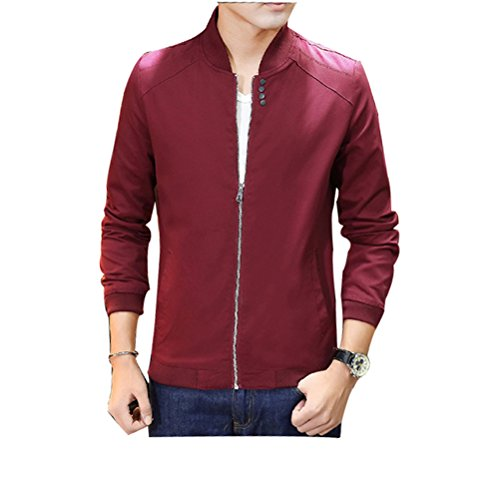 Zhuhaitf Décontractée Style Mens Stand Collar Jackets Outerwear Long Sleeve Coats Plus Size red