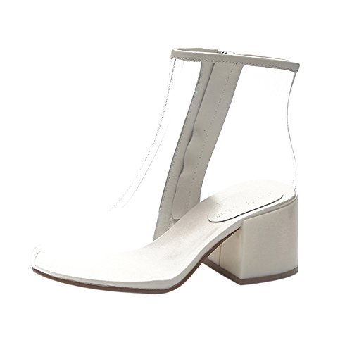 Modern leather lace up boot,yesmile estate sandali trasparente gladiator peep toe scarpe tacchi donna stivaletti scarpe da lavoro