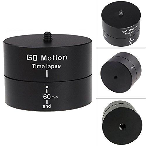 First2savvv XJPJ-ADJ60-01G6 Rotating Ball head Time Lapse 60 minuti panning rotazione cavalletto tempo adattatore stabilizzatore lasso treppiede per Telecamere, DSLR, GoPro di e smartphone + Mini trep ADJ60-01 + usb mini ventilatore