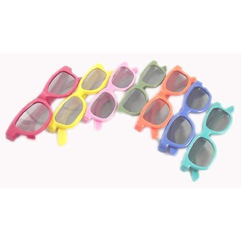Confezione arcobaleno di 7 paia di occhiali 3d per i bambini di occhiali passivi scuro blu per bambini bambini TV Universal film passivo e proiettori 3D come RealD Toshiba LG