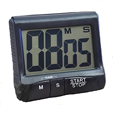 LCD Digital Kitchen Large Digit Timer Count-Down Up Clock Loud Alarm Black White (Black) by Phoenix B2C UK