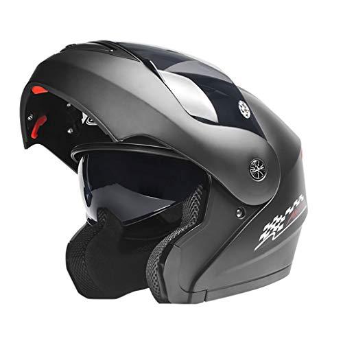 NJ casco- Casco elettrico svelato casco uomini e donne Quattro stagioni universale nero tè anti-nebbia doppio obiettivo casco (colore : Mascherino nero-32x24x22cm)