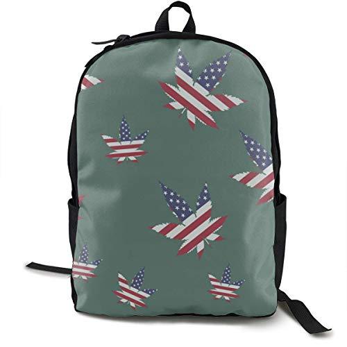 Zaini Weed USA Flag per donna Uomo, zaino per computer portatile, zaino da viaggio per campeggio
